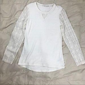 Prana Darla Long Sleeve Lace Cream Shirt